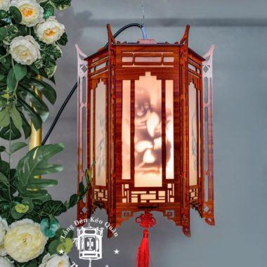 Lồng đèn kéo quân gỗ đặc sắc chiều cao 40cm